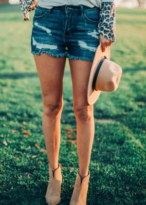 Back In The Saddle Dark Distressed Denim Shorts