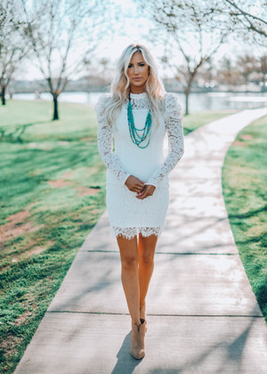 Ruffle Puff Bottom Scalloped Lace Crochet Dress White