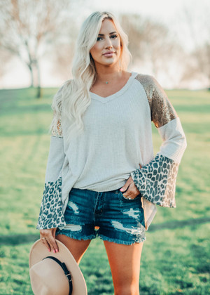 Melanie Sequins Leopard Waffle Flare Tunic Top Oatmeal