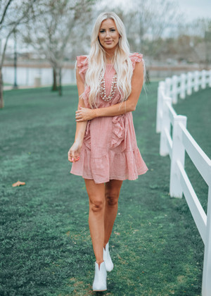 Shake It Off Ruffle Woven Tie Dress Dusty Pink