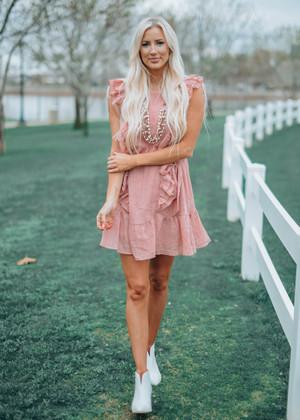 Shake It Off Ruffle Woven Tie Dress Dusty Pink