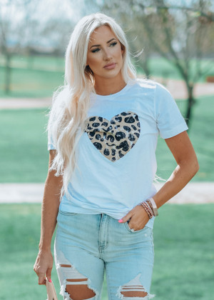 A Brave New You Leopard Heart Graphic Tee Ivory CLEARANCE