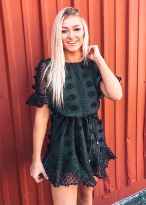 A Girl Like You Pom Ruffle Dress Black