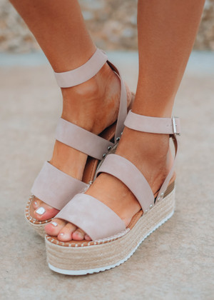 The Addison Wedged Sandals Mauve