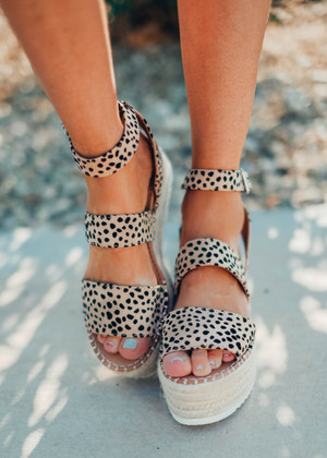 The Addison Leopard Wedged Sandals