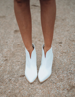 Faux Leather Chic Statement Booties White