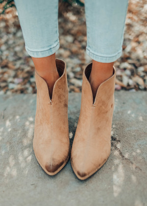 Faux Leather Chic Statement Booties Butterscotch CLEARANCE