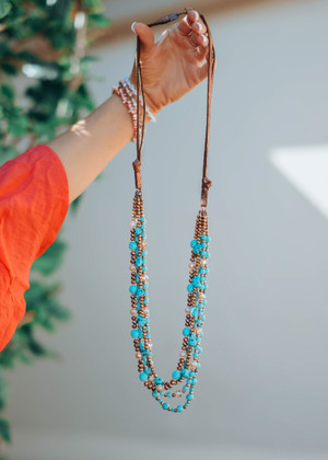 Come As You Are Beaded Necklace Copper Turquoise