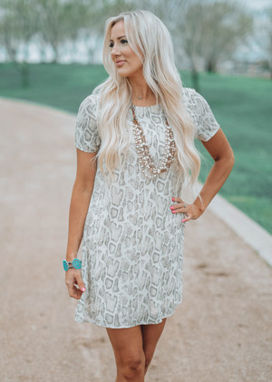 Easy Livin' Snakeskin Dress Taupe