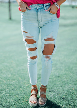 Define My Love Distressed Light Wash Jeans