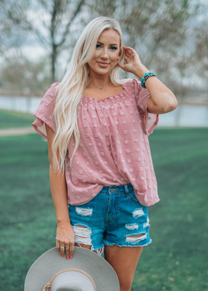 Epic Pom Pom Off Shoulder Top Mauve