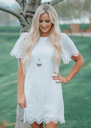 Basket Of Gold Eyelet Lace Dress White CLEARANCE