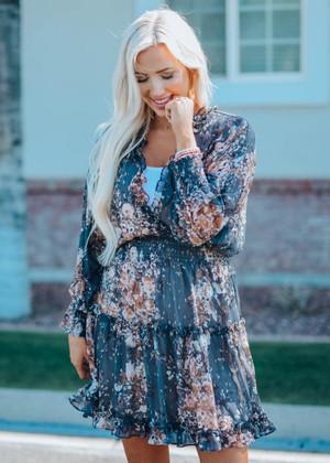 No Precautions Floral Sparkle Smocked Dress Gray/Blue