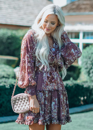 Floral Sparkle Smocked Ruffle Sheer Dress Mauve