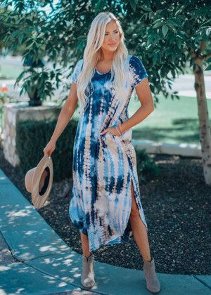Time Keeps Tickin' Tie Dye Dress Blue