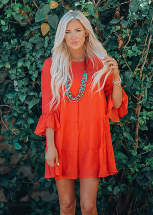 Change Of Plans Bell Sleeve Ruffle Dress Coral