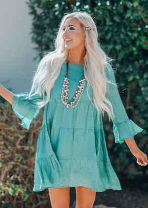 Change Of Plans Bell Sleeve Ruffle Dress Sage