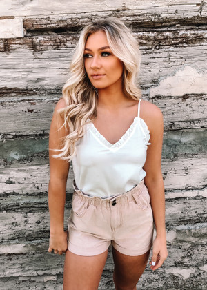 Sweet Embrace High Waist Shorts Khaki