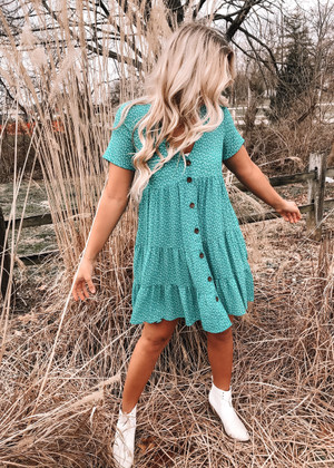 Floral Button Front Flowy Dress Teal