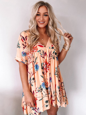 Perfectly Peach Ruffle Floral Rayon Dress