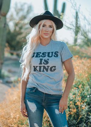 Jesus Is King Tee Shirt Gray