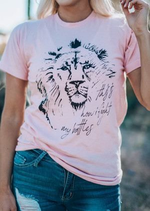 How I Fight My Battles Lion Tee Heather Peach