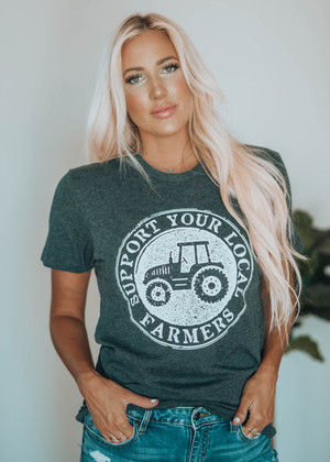 Support Local Farmers Tee Charcoal