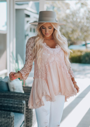 Worth More Than Anything Lace Tunic Dusty Pink
