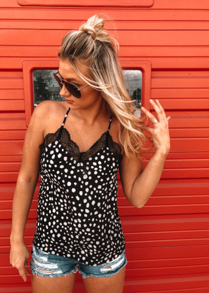 Riding In Your Front Seat Leopard Lace Tank Black