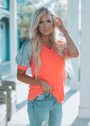 Disco Party Puff Tee Neon Pink CLEARANCE