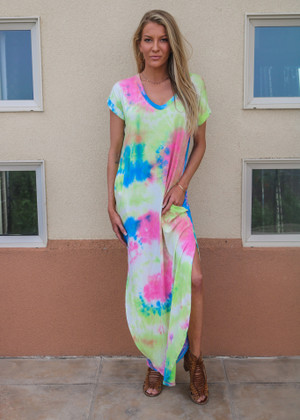 High Tide Tie Dye Short Sleeve Pocket Maxi Dress