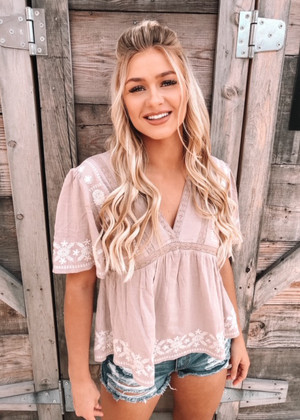 Shape Of You Embroidered Babydoll Top Taupe