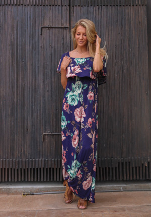 Painting Pictures Floral Off Shoulder Ruffle Maxi Dress Navy