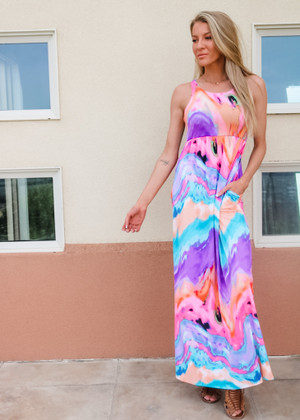 Know Your Worth Tie Dye Print Maxi Dress Blue/Purple