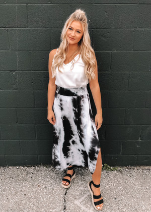 Wildflower Tie Dye Smocked Waist Maxi Skirt Black