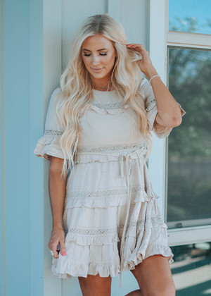 Motive For Love Ruffles Lace Tie Dress Taupe