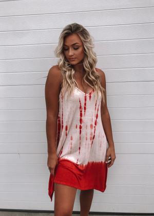 Life Is Short Tie Dye Tank Dress Red