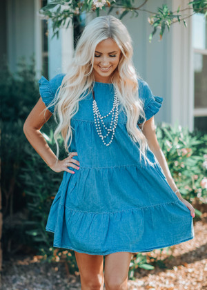 My Love Ruffle Tiered Denim Dress
