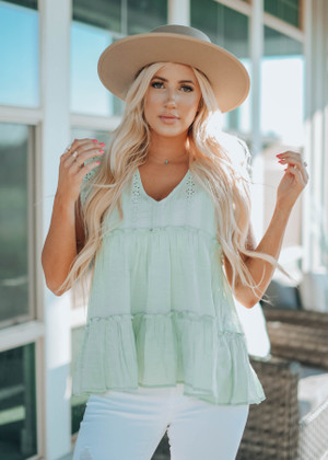As The World Turns Eyelet  Ruffle Top  Spring Sage