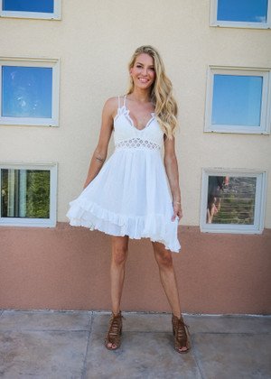 Smocked Lace Bandeau Top Ruffle Dress White CLEARANCE
