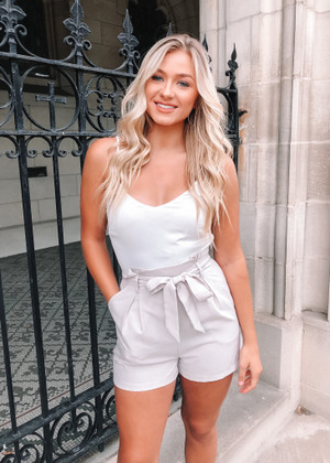 Hold My Hand Shorts Pocket Romper Taupe