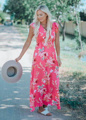 Strawberry Fields Floral Printed Maxi Pink CLEARANCE
