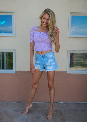 Smocking Crop Lace Sheer Top Lavender CLEARANCE