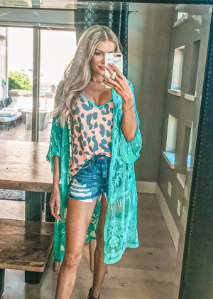Don't Make Me Wait Crochet Lace Long Cardigan Emerald/Mint