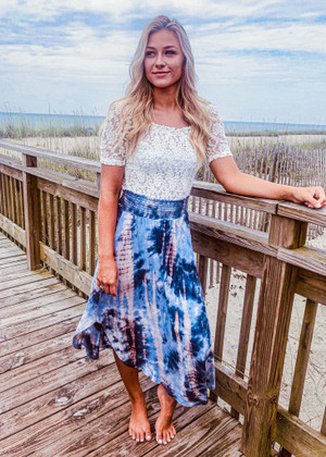 Take Away My Problems Tie Dye Maxi Skirt Blue CLEARANCE