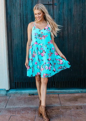 Filled With Florals Tiered Dress Aqua CLEARANCE