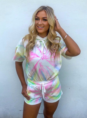 Gotta Get Free Tie Dye Hooded Sweatshirt Lounge Set