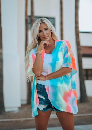 Wanting You The Way I Do Tie Dye Sheer Kimono