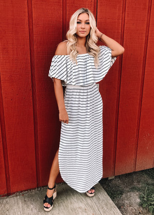 Where You Lead Ruffle Off Shoulder Striped Maxi White