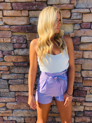 Hold My Hand Shorts Pocket Romper Lavender CLEARANCE